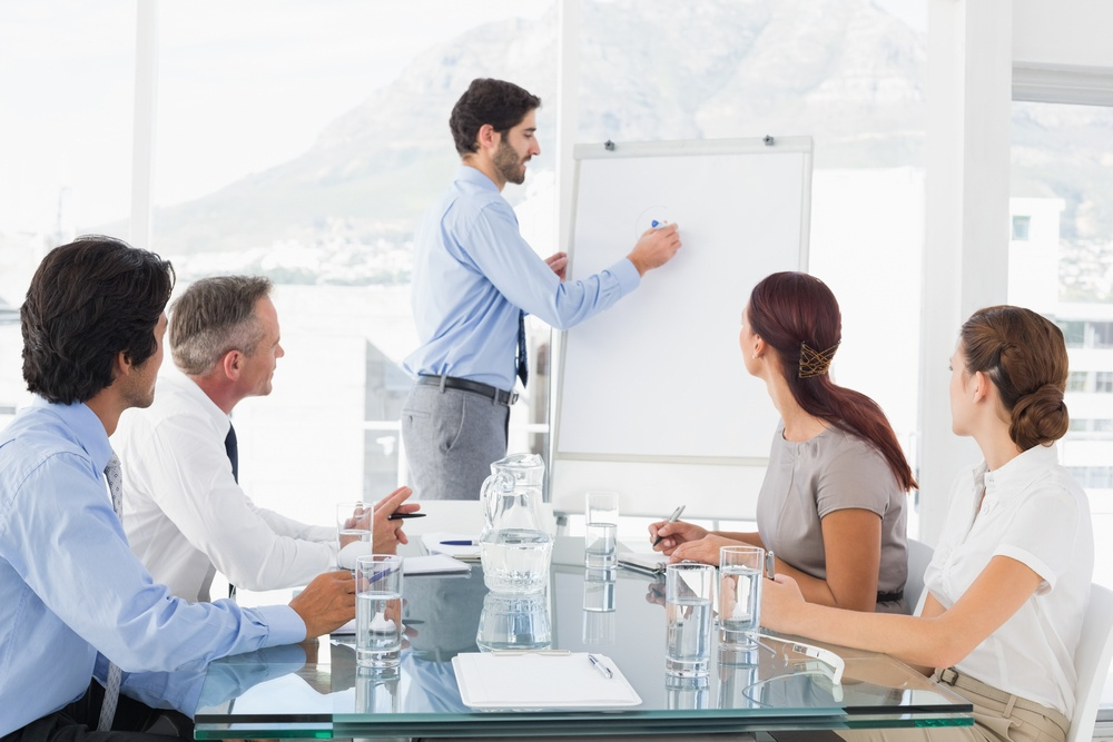 Business man communicating a culture of accountability