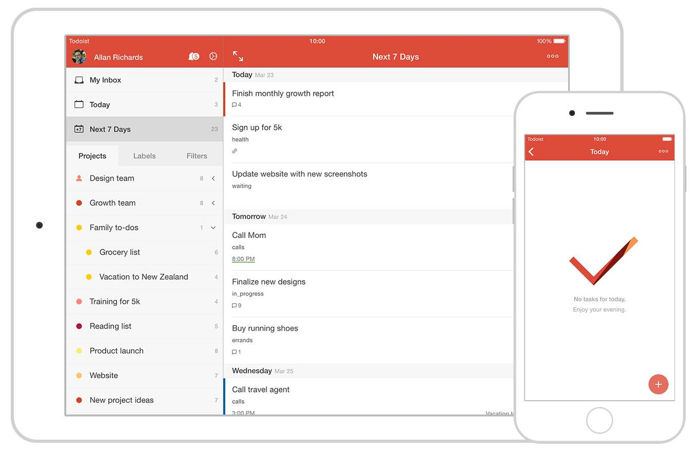 Todoist is a powerful task management and gtd app that focuses on making sure things get done.